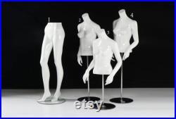 EuroDisplay and Mondo Mannequin Glossy White Legs Torso Mannequins