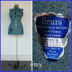 FREE SHIP Sears Mannequin Sewing Dress Form Adjustable Body Sears Roebuck and Co Tall Blue Knit with Metal Base Primitive Chippy Rustic