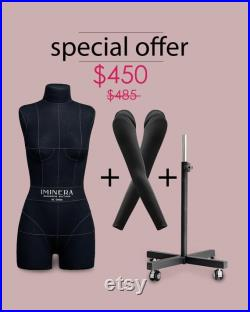 FULL SET of DIANA Soft pinnable dress form with set of arms adjustable metal sturdy rolling stand rotation stabilizer