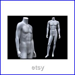 Fashionably Posed Male Matte White Headless Mannequin with Steel Metal Base MA2BW2-S