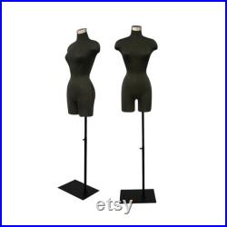 Female Adult Dress Form Mannequin Pinnable Black Torso with Shoulders and Thighs F2BLG