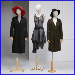 Female Display Dress Form With Wooden Hands, Half Body Women Torso Dress Form with Head, Window Display Store Model with Wooden Base Beige