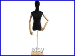 Female Display Dress Form in Black Jersey on Modern Wood Flat Base by TSC (Arms and Head Edition)