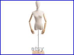 Female Display Dress Form in Natural Canvas on Modern Wood Flat Base by TSC (Arms and Head Edition)