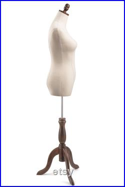 Female Display Dress Form in Natural Canvas on Traditional Wood Tripod Base by TSC