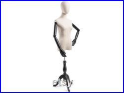 Female Display Dress Form in Natural Canvas on Traditional Wood Tripod Base by TSC (Arms and Head Edition)