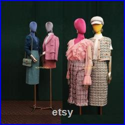 Female Half Body Mannequin,Adjustable Height Fabric Wrapped Model, Fashion Adult Mechanical Dress Form for Clothes Store Window Display