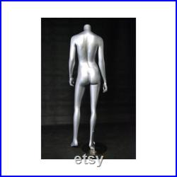 Fiberglass Glossy Silver Adult Female Headless Mannequin with Base A3BS-S