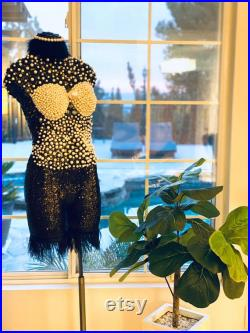 French Dress Mannequin, Black clothes with white imitation pearl mannequin, beautiful home decor