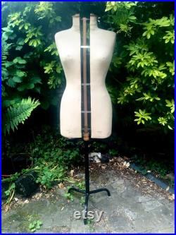 French Mannequin by Buste Girard Paris, On stand, Stamped linen, Size 38, Rare adjusting mechanism