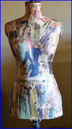French antique mannequin Antique Decoupage mannequin Dress makers mannequin antique dress form 1900,s mannequin tailors dummy