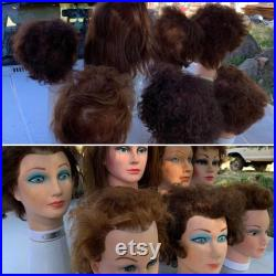 Fresh Batch of Heads Lot of 7 Vintage 80-90's Cosmetology Mannequin Heads for Halloween or Display Burmax, Artistico Hair Loss, Etc.
