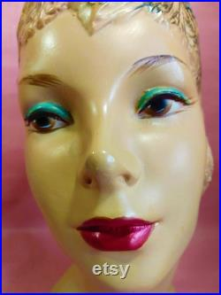 Gorgeous head store hat mannequin Vintage plaster stand Modiste Showcase deco Free Shipping Canada USA