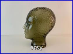 Green glass mannequin head, retro shop display head, headphone display head, fabulous vintage 1970s mid century modern design
