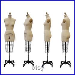 Half Body Professional Dress Form with Base Sizes 2, 4, 6, 8, 10, 12 Personalized Dress Form Option Monogram