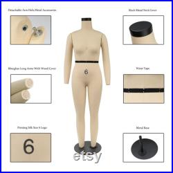 Halfscale 1 2 size 6 8 10 Female Full Body Mini Tailor Dress Form,77cm Height Sewing Dressmaker Dummy 1 2 Mannequin with Detachable Long Arm