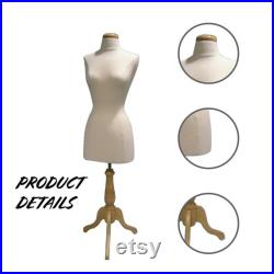 Headless Female Mannequin 3 4 Body Form, Sturdy Adjustable Tripod Wood Stand Polyurethane Foam Adjustable Height for Easy Dressing and Store