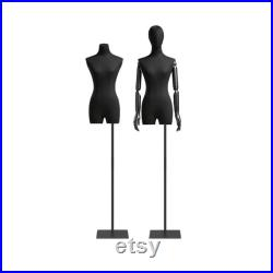High-grade Black Half Body Female Mannequin,Adjustable Women Cotton Dress Form, Clothing Model Props,Adult Mannequin with Flexible Wood Arms