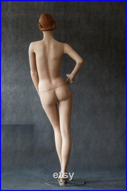 Hindsgaul VINTAGE real size body female MANNEQUIN Art Deco style 1940s dummy Red hair mannequin