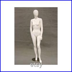 Ladies Glossy White Egg Head Full Body Women's Mannequin With Removable Heels GS8W1