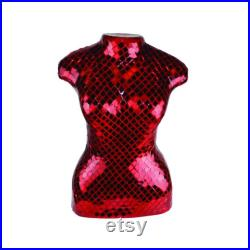 Large Red Mirrored Mosaic Table Top Body Form Torso AKA Dress Form with Dark Red Grout
