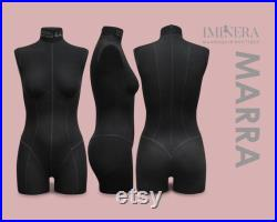 MARRA Soft pinnable dress form with adjustable metal sturdy rolling stand and rotation stabilizer PADs for body correction