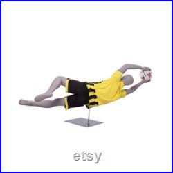Male Adult Fiberglass Full Body Soccer Goalie Mannequin in Diving Pose with Base CRIS05