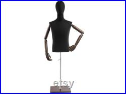 Male Display Dress Form in Black Jersey on Modern Wood Flat Base by TSC (Arms and Head Edition)