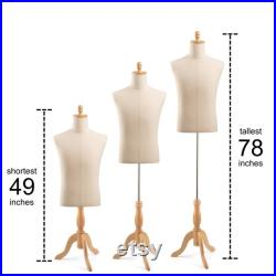 Male Display Dress Form in Black Jersey on Traditional Wood Tripod Base by TSC