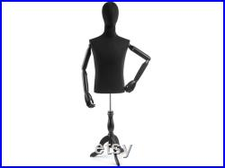 Male Display Dress Form in Black Jersey on Traditional Wood Tripod Base by TSC (Arms and Head Edition)