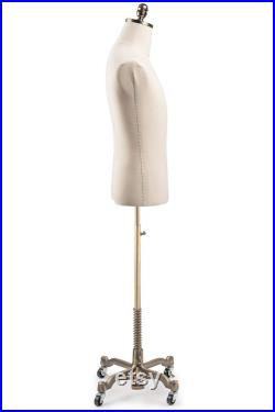 Male Display Dress Form in Natural Canvas on Heavy Duty Metal Rolling Base by TSC