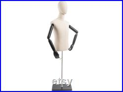 Male Display Dress Form in Natural Canvas on Modern Wood Flat Base by TSC (Arms and Head Edition)