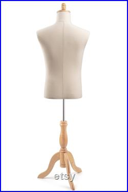 Male Display Dress Form in Natural Canvas on Traditional Wood Tripod Base by TSC