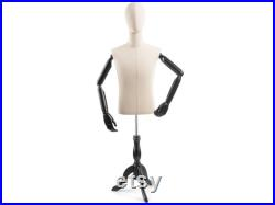 Male Display Dress Form in Natural Canvas on Traditional Wood Tripod Base by TSC (Arms and Head Edition)