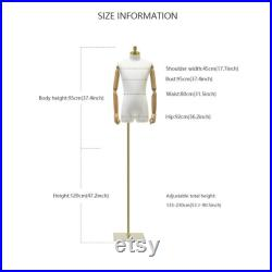 Male Half Body Mannequin,Adult Torso Form with Stand,Men Display Torso with Wooden Arms for Suit Display, Square metal Base, Fabric Torso.
