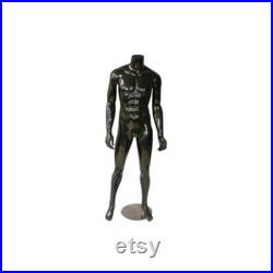 Male Headless Glossy Black Standing Straight Mannequin with Metal Base