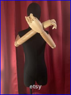 Male Mannequin, Fully Articulated Wooden Arms and Fingers, Dress Form, Sewing Mannequin, Wood Mannequin Hand, Mannequin Torso