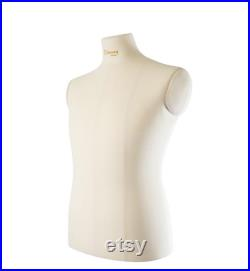 Male Sewing Mannequin Torso with Adjustable Stand Professional Soft Tailor Male Dress Form with Balance Lines Beige Dress form Richard