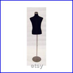 Male Shirt Form Dress Form Body Form Mannequin Torso Fully Pinnable Black Cover With Base 33M02