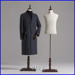 Male half body adjustable height fabric mannequin, window display rack adult men torso dress form for clothes display with Wooden Shoes Rack