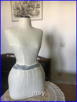 Mannequin Torso Linen Lace Wasp Waist Vintage French Style Dress Form Jewelry Torso paper mashe Tailor Dummy Jewelry Holder pinable