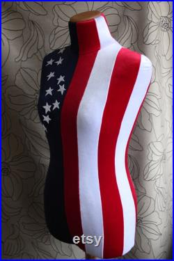 Mannequin Torso USA Flag Maniquin Vintage Style Dress Form Jewelry bust display Torso paper mashe Tailor Dummy Jewelry Holder Organizer