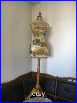 Mannequin Torso Wasp Waist Paris London Vintage French Style Dress Form Jewelry bust display Torso paper mashe Tailor Dummy Jewelry Holder