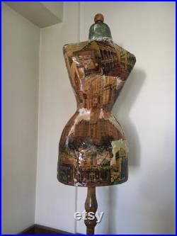 Mannequin Wasp Waist Vintage French Style Old US Postcards Dress Form Jewelry bust display Torso paper mashe Tailor Dummy Jewelry Holder