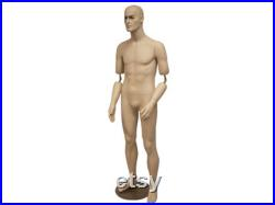 Men's Realistic Short Fleshtone Full Body Mannequin With Movable Elbows Base Included BC8S