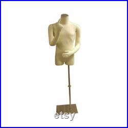 Men's Shirt Torso Dress Form With Fully Flexible Arms and Fingers Includes Base M01ARM
