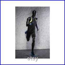 Mens Athletic Fiberglass Matte Black Running Mannequin with Square Metal Base PB5BK2