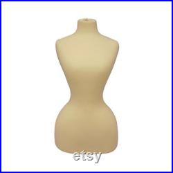 Off White Adult Female Historical Vintage Shaped Dress Form Mannequin Pinnable Torso with Base FH01