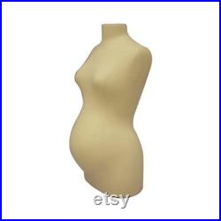 Off White Linen Female Maternity Dress Form Body Form Pinnable Mannequin Torso F8W8