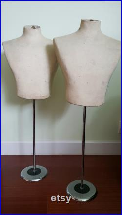 Pair of Vintage Mannequins Two 2 Matching Dress Forms Adjustable Height with Stand French Style Display Bust Torso Body Male Man Mens